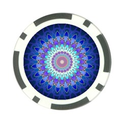 Power Flower Mandala   Blue Cyan Violet Poker Chip Card Guard (10 Pack) by EDDArt