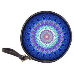 Power Flower Mandala   Blue Cyan Violet Classic 20 Cd Wallets by EDDArt