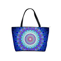 Power Flower Mandala   Blue Cyan Violet Shoulder Handbags by EDDArt
