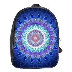Power Flower Mandala   Blue Cyan Violet School Bags(large)  by EDDArt