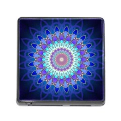 Power Flower Mandala   Blue Cyan Violet Memory Card Reader (square) by EDDArt