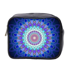 Power Flower Mandala   Blue Cyan Violet Mini Toiletries Bag 2 Side by EDDArt
