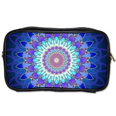 Power Flower Mandala   Blue Cyan Violet Toiletries Bags 2 Side by EDDArt