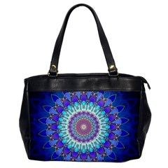 Power Flower Mandala   Blue Cyan Violet Office Handbags by EDDArt