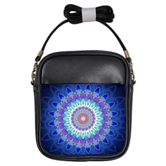 Power Flower Mandala   Blue Cyan Violet Girls Sling Bags by EDDArt