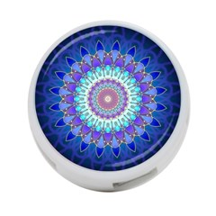 Power Flower Mandala   Blue Cyan Violet 4 Port Usb Hub (one Side) by EDDArt