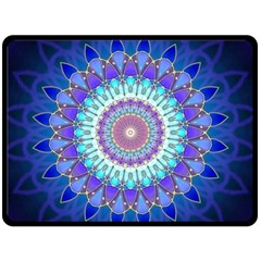 Power Flower Mandala   Blue Cyan Violet Fleece Blanket (large)  by EDDArt