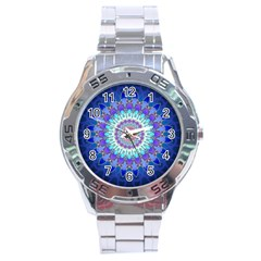 Power Flower Mandala   Blue Cyan Violet Stainless Steel Analogue Watch by EDDArt