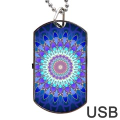 Power Flower Mandala   Blue Cyan Violet Dog Tag Usb Flash (two Sides) by EDDArt