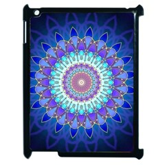 Power Flower Mandala   Blue Cyan Violet Apple Ipad 2 Case (black) by EDDArt