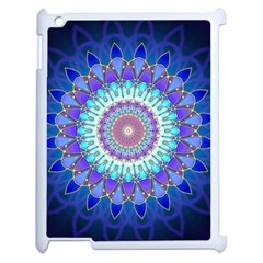 Power Flower Mandala   Blue Cyan Violet Apple Ipad 2 Case (white) by EDDArt