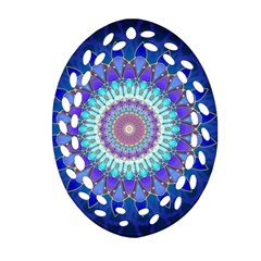 Power Flower Mandala   Blue Cyan Violet Ornament (oval Filigree) by EDDArt