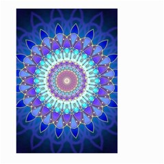 Power Flower Mandala   Blue Cyan Violet Large Garden Flag (two Sides) by EDDArt
