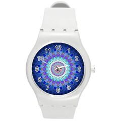Power Flower Mandala   Blue Cyan Violet Round Plastic Sport Watch (m) by EDDArt
