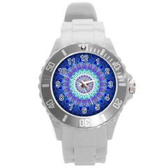 Power Flower Mandala   Blue Cyan Violet Round Plastic Sport Watch (l) by EDDArt