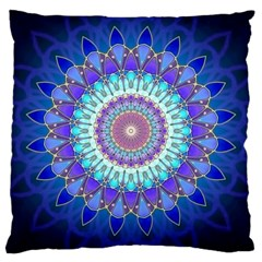 Power Flower Mandala   Blue Cyan Violet Large Cushion Case (two Sides) by EDDArt