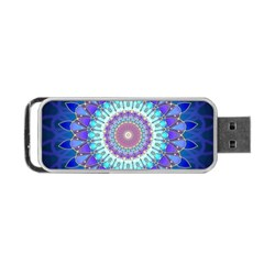 Power Flower Mandala   Blue Cyan Violet Portable Usb Flash (two Sides) by EDDArt