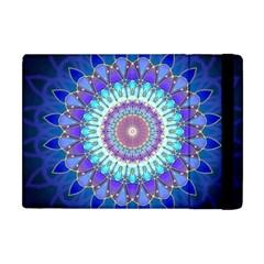 Power Flower Mandala   Blue Cyan Violet Apple Ipad Mini Flip Case by EDDArt