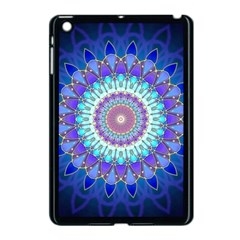 Power Flower Mandala   Blue Cyan Violet Apple Ipad Mini Case (black) by EDDArt