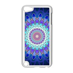 Power Flower Mandala   Blue Cyan Violet Apple Ipod Touch 5 Case (white) by EDDArt