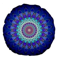 Power Flower Mandala   Blue Cyan Violet Large 18  Premium Round Cushions by EDDArt