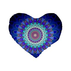 Power Flower Mandala   Blue Cyan Violet Standard 16  Premium Heart Shape Cushions by EDDArt
