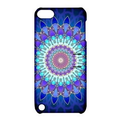 Power Flower Mandala   Blue Cyan Violet Apple Ipod Touch 5 Hardshell Case With Stand by EDDArt