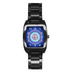 Power Flower Mandala   Blue Cyan Violet Stainless Steel Barrel Watch by EDDArt