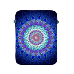 Power Flower Mandala   Blue Cyan Violet Apple Ipad 2/3/4 Protective Soft Cases by EDDArt