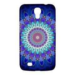 Power Flower Mandala   Blue Cyan Violet Samsung Galaxy Mega 6 3  I9200 Hardshell Case by EDDArt