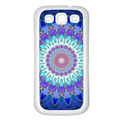 Power Flower Mandala   Blue Cyan Violet Samsung Galaxy S3 Back Case (white) by EDDArt