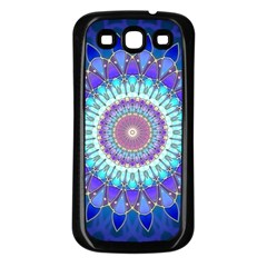 Power Flower Mandala   Blue Cyan Violet Samsung Galaxy S3 Back Case (black) by EDDArt