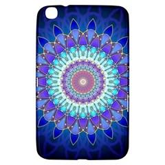 Power Flower Mandala   Blue Cyan Violet Samsung Galaxy Tab 3 (8 ) T3100 Hardshell Case  by EDDArt