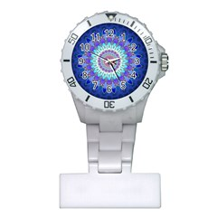 Power Flower Mandala   Blue Cyan Violet Plastic Nurses Watch by EDDArt