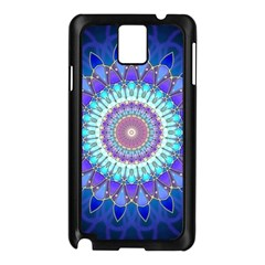 Power Flower Mandala   Blue Cyan Violet Samsung Galaxy Note 3 N9005 Case (black) by EDDArt