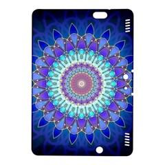 Power Flower Mandala   Blue Cyan Violet Kindle Fire Hdx 8 9  Hardshell Case by EDDArt