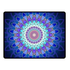 Power Flower Mandala   Blue Cyan Violet Double Sided Fleece Blanket (small)  by EDDArt