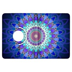 Power Flower Mandala   Blue Cyan Violet Kindle Fire Hdx Flip 360 Case by EDDArt