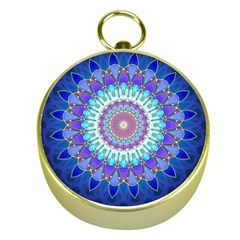 Power Flower Mandala   Blue Cyan Violet Gold Compasses by EDDArt
