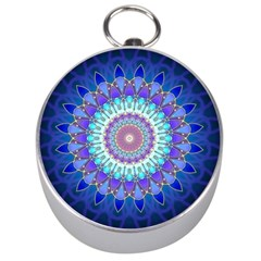 Power Flower Mandala   Blue Cyan Violet Silver Compasses by EDDArt