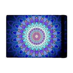 Power Flower Mandala   Blue Cyan Violet Ipad Mini 2 Flip Cases by EDDArt