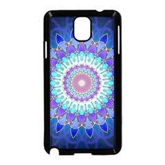 Power Flower Mandala   Blue Cyan Violet Samsung Galaxy Note 3 Neo Hardshell Case (black) by EDDArt