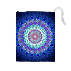 Power Flower Mandala   Blue Cyan Violet Drawstring Pouches (large)  by EDDArt
