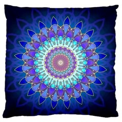 Power Flower Mandala   Blue Cyan Violet Large Flano Cushion Case (two Sides) by EDDArt
