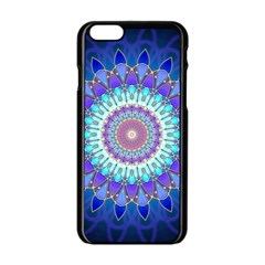 Power Flower Mandala   Blue Cyan Violet Apple Iphone 6/6s Black Enamel Case by EDDArt