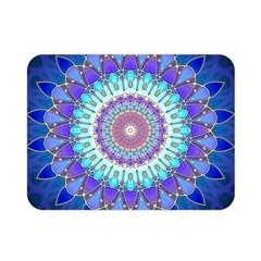 Power Flower Mandala   Blue Cyan Violet Double Sided Flano Blanket (mini)  by EDDArt