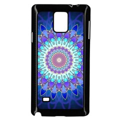 Power Flower Mandala   Blue Cyan Violet Samsung Galaxy Note 4 Case (black) by EDDArt