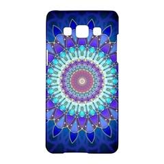 Power Flower Mandala   Blue Cyan Violet Samsung Galaxy A5 Hardshell Case  by EDDArt