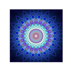 Power Flower Mandala   Blue Cyan Violet Small Satin Scarf (square) by EDDArt