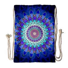 Power Flower Mandala   Blue Cyan Violet Drawstring Bag (large) by EDDArt